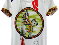 White 3D Man Horse And Feather Print Short Sleeve T-shirt Choies.com bester Fashion-Online-Shop aus China