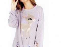 Round Neck Sweater with Animal Print Chicnova bester Fashion-Online-Shop aus China