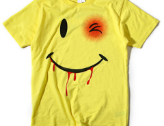 Yellow Funny Smiling Face And Letter Print T-shirt Choies.com bester Fashion-Online-Shop aus China
