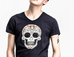 Black Multicolor Skull Print T-shirt Choies.com bester Fashion-Online-Shop aus China