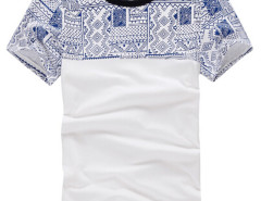 White Aztec Print Contrast Collar Short Sleeve T-shirt Choies.com bester Fashion-Online-Shop aus China