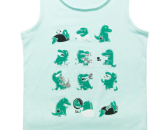 Aqua Cute Little Dinosaur Print Vest Choies.com bester Fashion-Online-Shop aus China