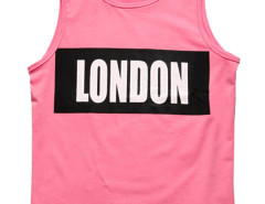 Pink Contrast Letter Patch Vest Choies.com bester Fashion-Online-Shop aus China