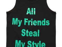 Black Contrast Letter Print Vest Top Choies.com bester Fashion-Online-Shop aus China