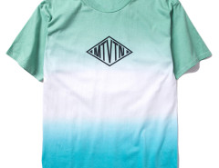 Green Contrast Dip Dye Geo And Letter Print T-shirt Choies.com bester Fashion-Online-Shop aus China