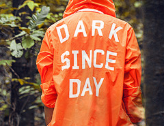 Fluorescent Orange Letter Print Back Hooded Lightweight Jacket Choies.com bester Fashion-Online-Shop aus China