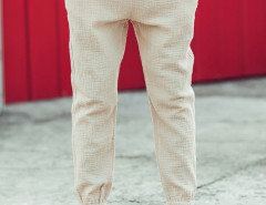 Beige Texture Drawstring Wasit Embroidery Tapered Pants Choies.com bester Fashion-Online-Shop aus China