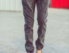 Black Drawstring Waist Wash Tapered Jeans Choies.com bester Fashion-Online-Shop aus China