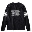 Black Stripe And Letter Print Long Sleeve T-shirt Choies.com bester Fashion-Online-Shop aus China