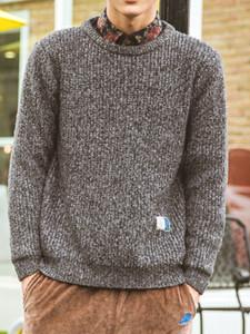 Gray Mixed Yarn Rib Detail Jumper Choies.com bester Fashion-Online-Shop aus China