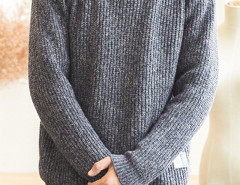 Gray Blue Mixed Yarn Rib Detail Jumper Choies.com bester Fashion-Online-Shop aus China