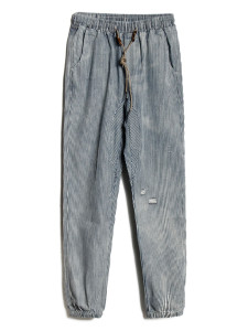Blue And Gray Stripe Ripped Drawstring Waist Pants Choies.com bester Fashion-Online-Shop aus China
