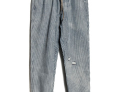 Blue And Gray Stripe Ripped Drawstring Waist Pants Choies.com bester Fashion-Online-Shop aus China