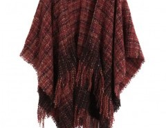 Fringed Cape Coat in Plaid Chicnova bester Fashion-Online-Shop aus China