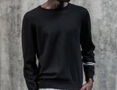 Black Stripe Sleeve Plain Jumper Choies.com bester Fashion-Online-Shop aus China