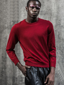 Burgundy Stripe Sleeve Plain Jumper Choies.com bester Fashion-Online-Shop aus China