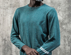 Dark Cyan Stripe Sleeve Plain Jumper Choies.com bester Fashion-Online-Shop aus China