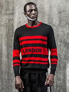 Black Color Block Striped Letter Jacquard Jumper Choies.com bester Fashion-Online-Shop aus China