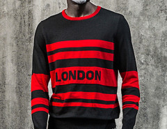Black Color Block Striped Letter Jacquard Jumper Choies.com bester Fashion-Online-Shop aus China