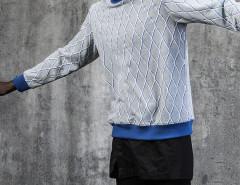 Gray Diamond Print Contrast Trims Sweatshirt Choies.com bester Fashion-Online-Shop aus China