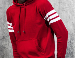 Red Striped Sleeve Pocket Front Hooded Jumper Choies.com bester Fashion-Online-Shop aus China