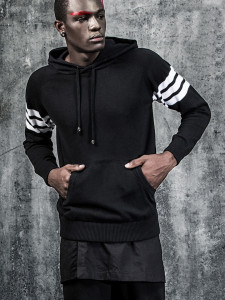 Black Striped Sleeve Pocket Front Hooded Jumper Choies.com bester Fashion-Online-Shop aus China