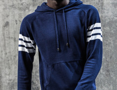 Blue Striped Sleeve Pocket Front Hooded Jumper Choies.com bester Fashion-Online-Shop aus China