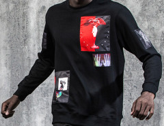 Black Angel And Character Patched Sweatshirt Choies.com bester Fashion-Online-Shop aus China