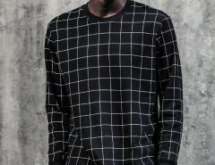 Black Contrast Grid Print Ribbed Sweatshirt Choies.com bester Fashion-Online-Shop aus China