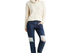 Boyfriend Jeans in Dark Wash with Rips Chicnova bester Fashion-Online-Shop aus China