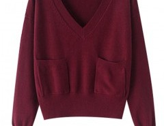 V-neck with Pocket Sweater Chicnova bester Fashion-Online-Shop aus China