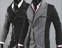 Men Cool Slim Casual Blazer Suit Top Zip Dress Jacket Black Dark Grey Fashion Cndirect bester Fashion-Online-Shop aus China
