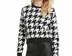 Contrast Color Sweatshirt in Mono Check Chicnova bester Fashion-Online-Shop aus China