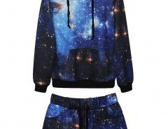 Starry Sky Print Sweatshirt and Shorts Chicnova bester Fashion-Online-Shop aus China