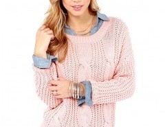 Cable Knit Sweater with Round Neck Chicnova bester Fashion-Online-Shop aus China