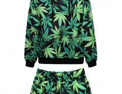 Leaf Print Sweatshirt and Shorts Chicnova bester Fashion-Online-Shop aus China