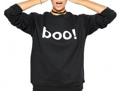 Contrast Color Sweatshirt with Boo Print Chicnova bester Fashion-Online-Shop aus China