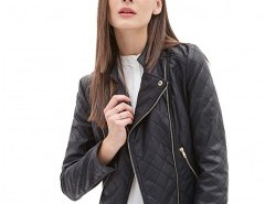 Stand Collar Biker Jacket with Long Sleeves Chicnova bester Fashion-Online-Shop aus China