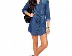 Belted Denim Shirt Dress Chicnova bester Fashion-Online-Shop aus China