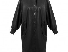 Longline Faux Leather Coat with Full Lining Chicnova bester Fashion-Online-Shop aus China