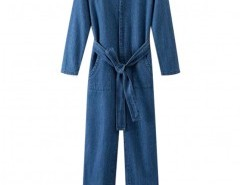 Preppy Style V-neck Denim Jumpsuit Chicnova bester Fashion-Online-Shop aus China