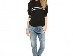 Knitted Sweater with Placement Stripes Chicnova bester Fashion-Online-Shop aus China