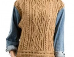 Cable Knit Sweater with Denim Sleeves Chicnova bester Fashion-Online-Shop aus China