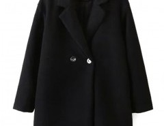 Lapel Coat in Solid Black Chicnova bester Fashion-Online-Shop aus China