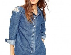 Plus Size Denim Blouse with Ripped Shoulder Chicnova bester Fashion-Online-Shop aus China