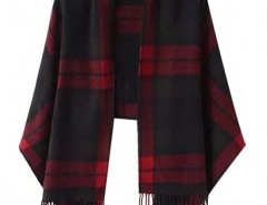 Plaid Cape with Fringed Trim Chicnova bester Fashion-Online-Shop aus China