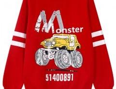 Cartoon Print Sweatshirt with Stripe Chicnova bester Fashion-Online-Shop aus China