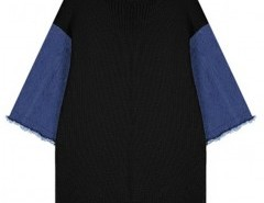 Chunky Rib Sweater with Denim Sleeves Chicnova bester Fashion-Online-Shop aus China