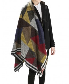 Fringed Cape in Check Chicnova bester Fashion-Online-Shop aus China