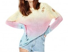 Ombre Dip Dye Sweater with Rips Chicnova bester Fashion-Online-Shop aus China